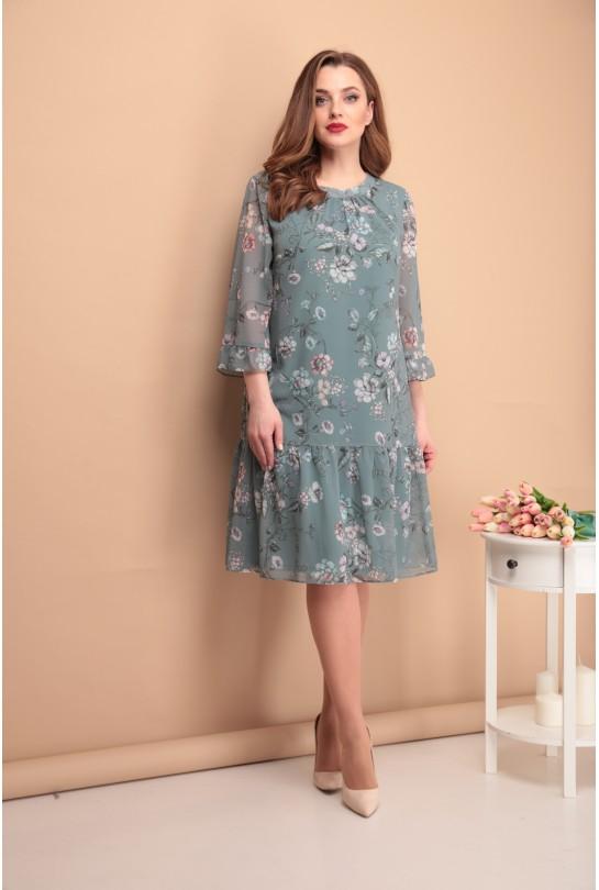Платье женское В-266 серо-зеленый