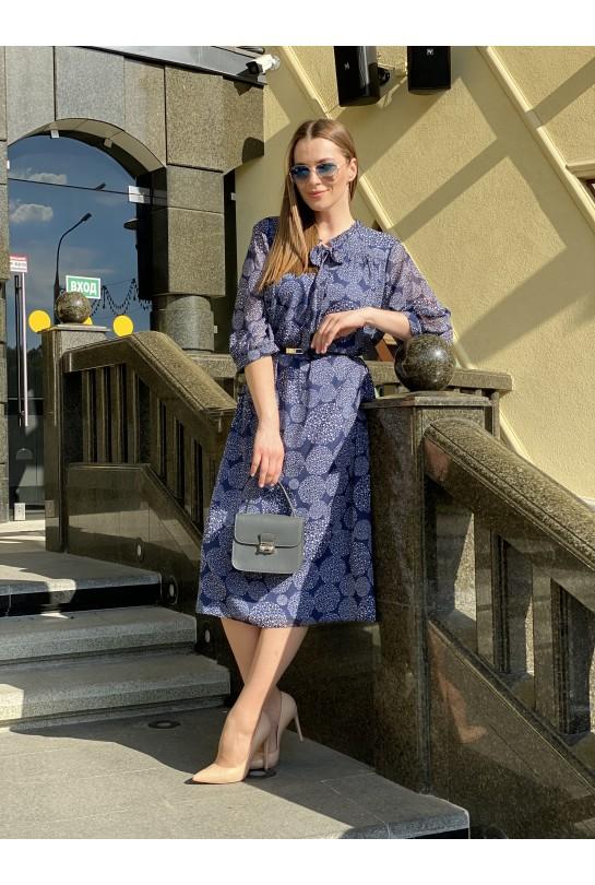 Платье женское В-372/1 сине-белое